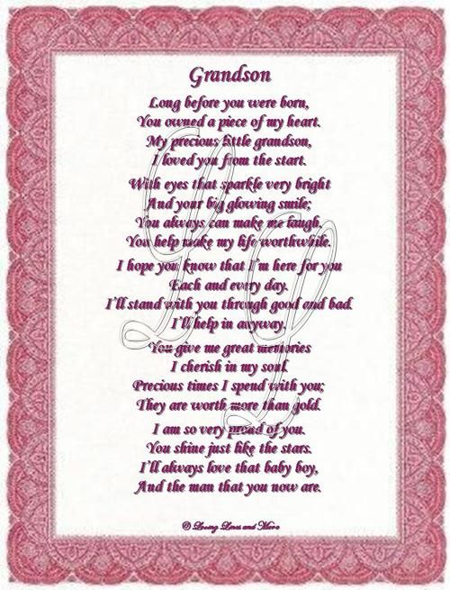 Free Happy Birthday Grandson Cards Grandson Poem Is For The