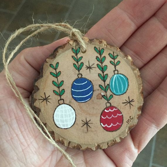 Wooden Christmas Ornament Personalized Wood Slice By Malamistudio Wood Christmas Ornaments Wooden Christmas Ornaments Painted Christmas Ornaments