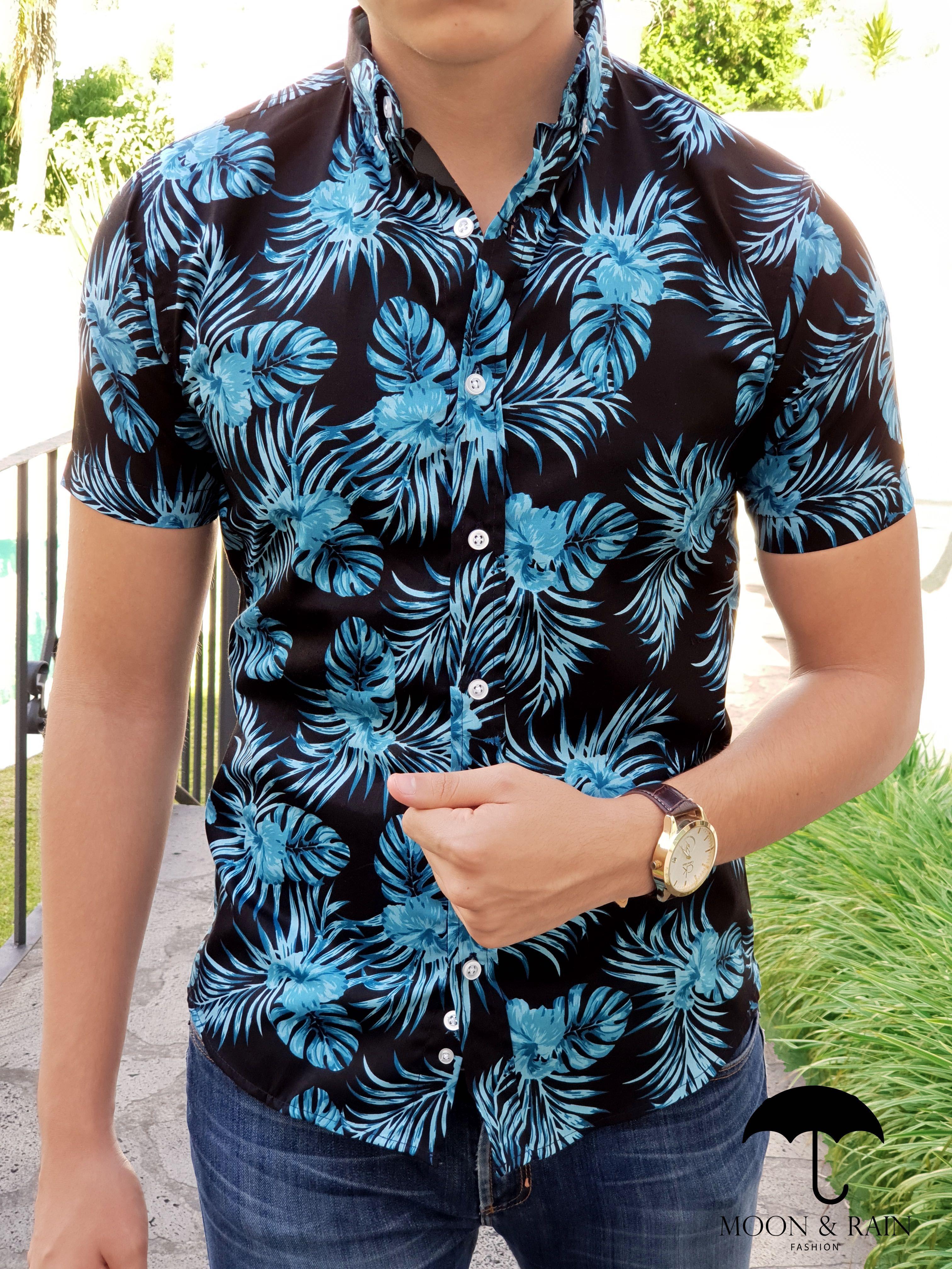 ventas al por mayor invicto x nuevo estilo Outfit para hombre; camisa marino con flores azul cielo en ...