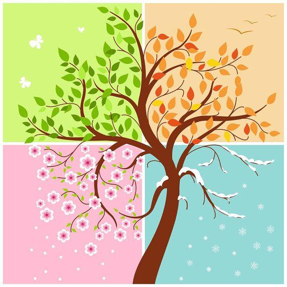 Süße Vier Jahreszeiten Illustration, digital-Karte, druckbare, Vektor, sofortiger Download, Vektorgrafiken, digitale Bilder - IL001 #seasonsoftheyear