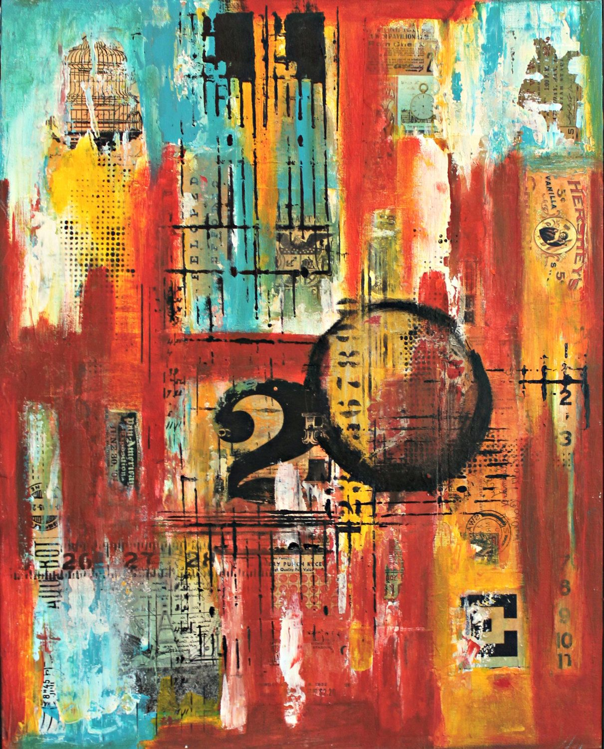 Mix media collage wall art abstract art by crystal renee