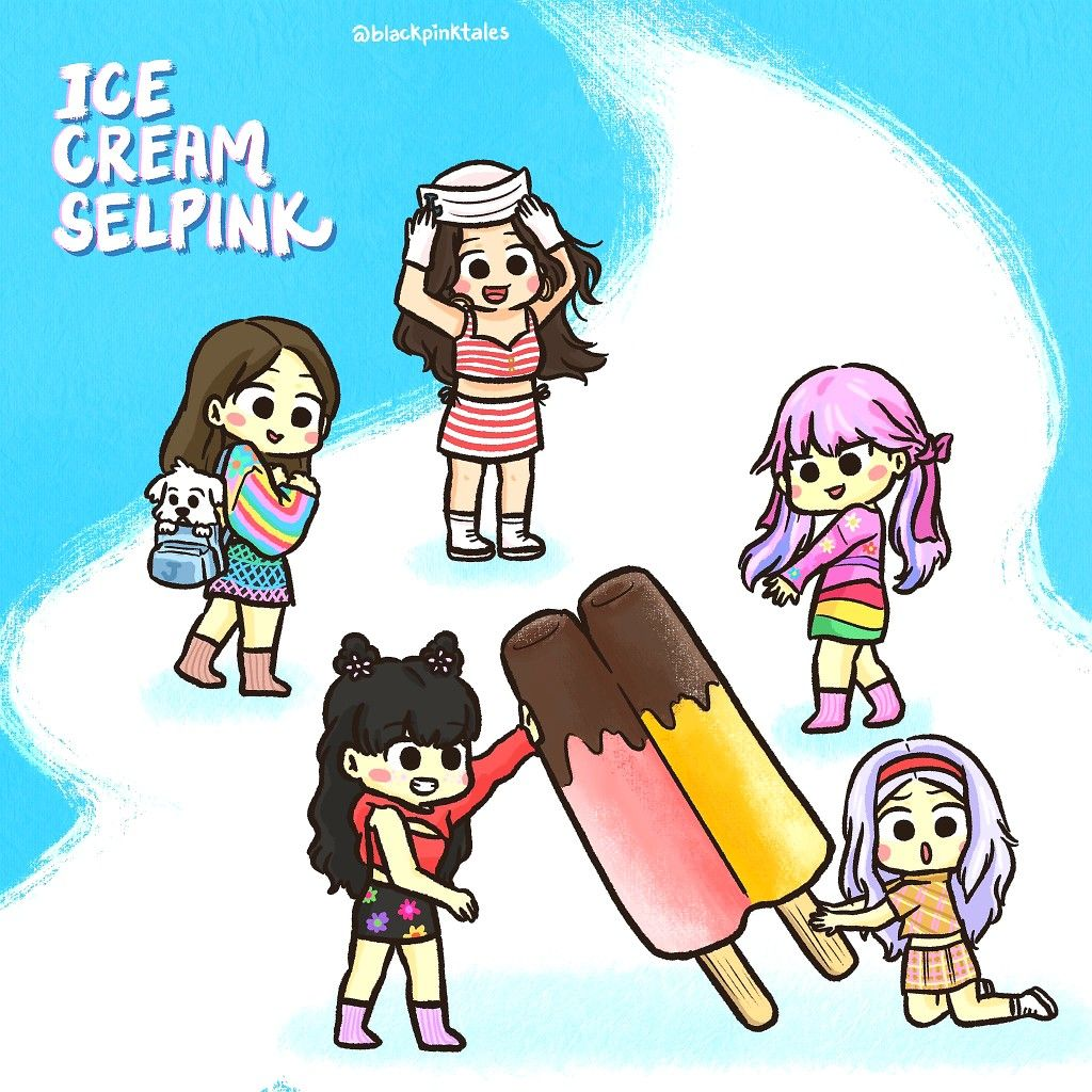 Ice Cream Blackpink Selena Gomez Cartoon Twitter Blackpinktales In 2020 Blackpink Ice Cream Cartoon Bear Wallpaper