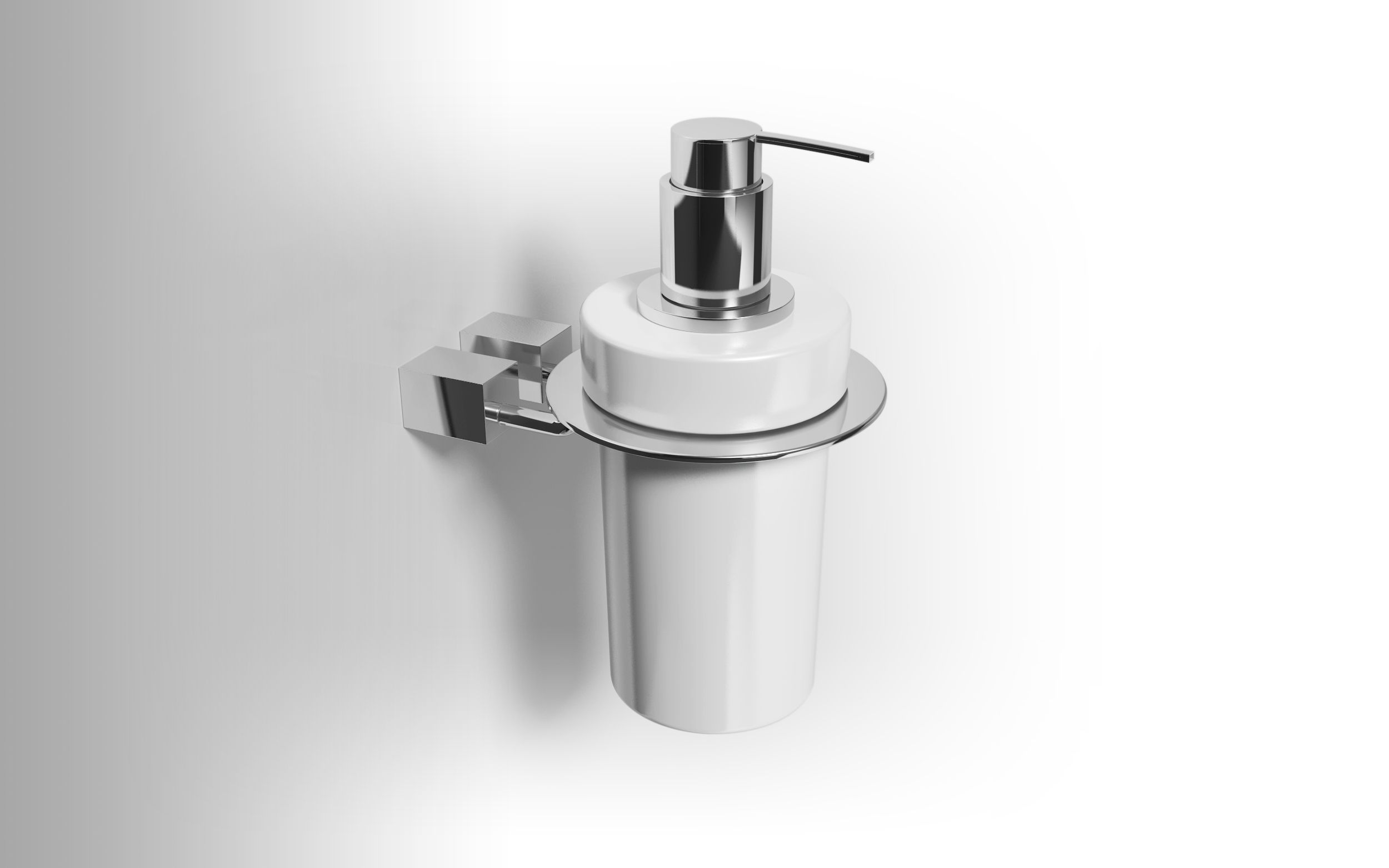DATURA - Chrome plated brass soap dispenser holder with ceramic soap ...