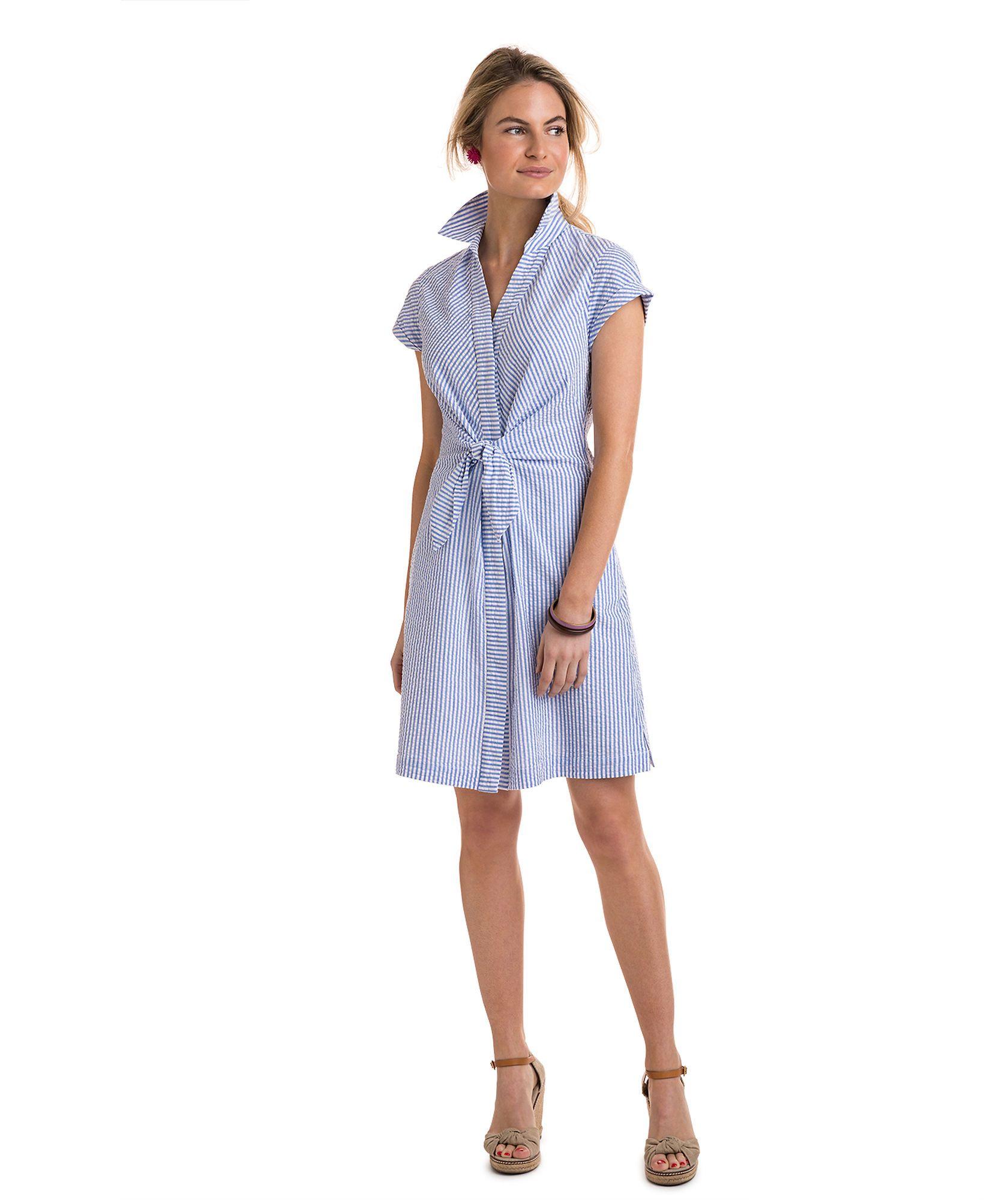 a63027e977 Tie Front Seersucker Shirt Dress | Feminine Frocks in 2019 ...