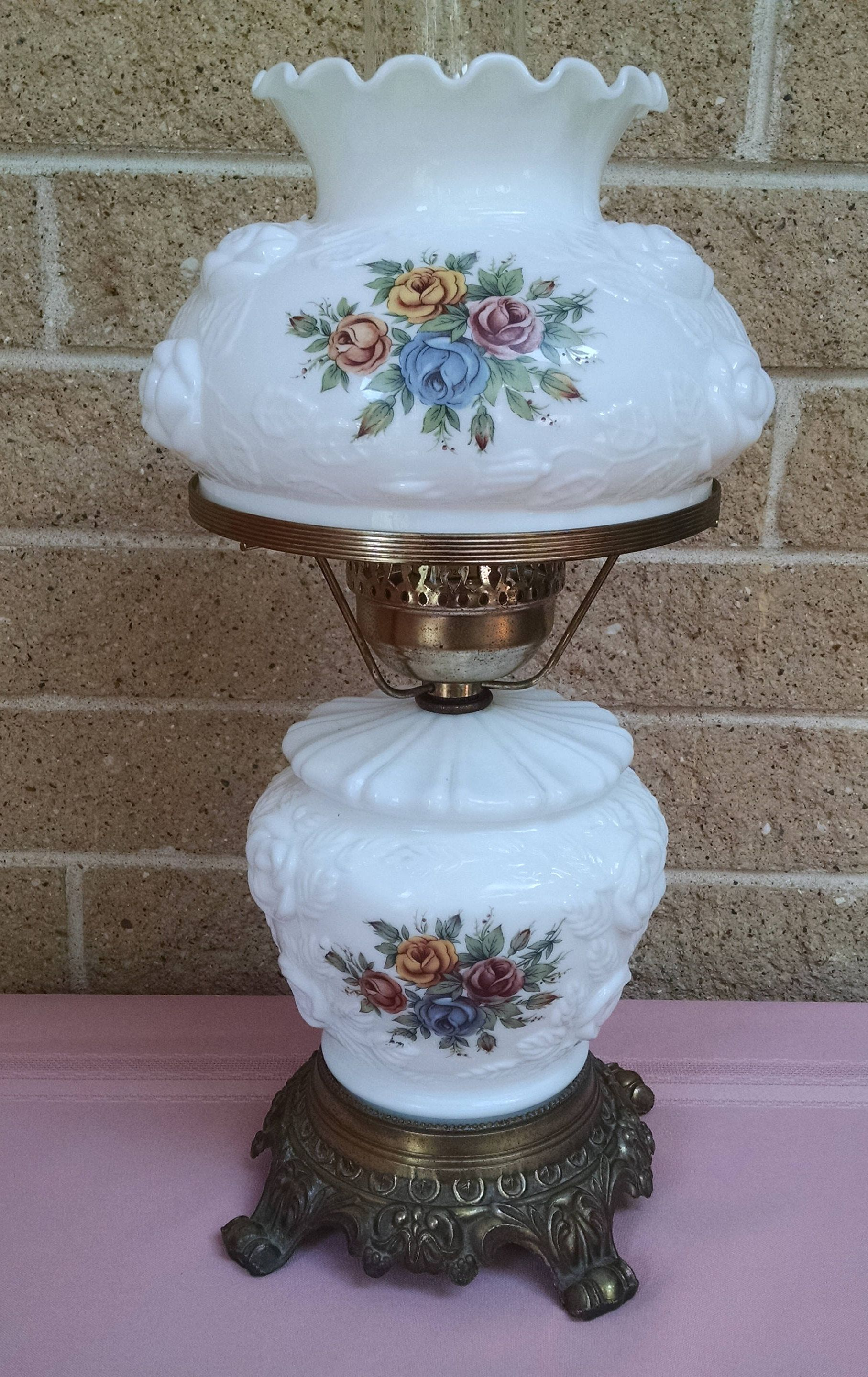 Hurricane Lamp Milk Glass With Embossed Roses And Rose Decals Vintage 193039s Ge Table Fan Needs Rewiring Fans Etsy Electrical Hedco Nyc 3 Way Lighting By Classyvintageglass On