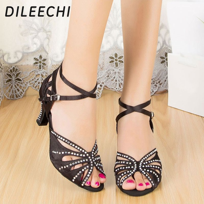 DILEECHI Black satin Women s rhinestones Latin dance shoes Ballroom dancing  shoes soft outsole square dance shoes 2144f07cf2fe