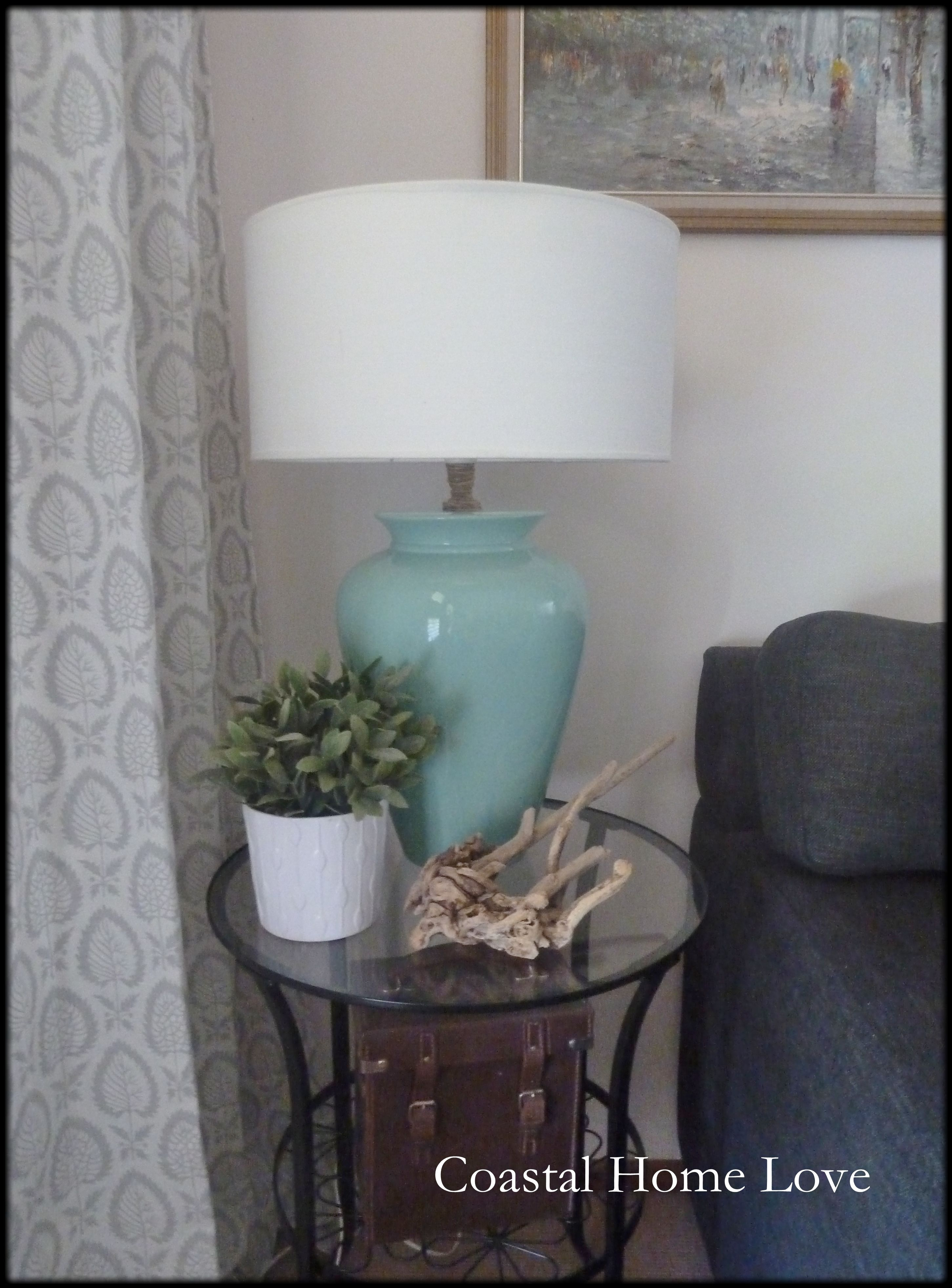 Thrifted lamp makeover...  turquoise <3