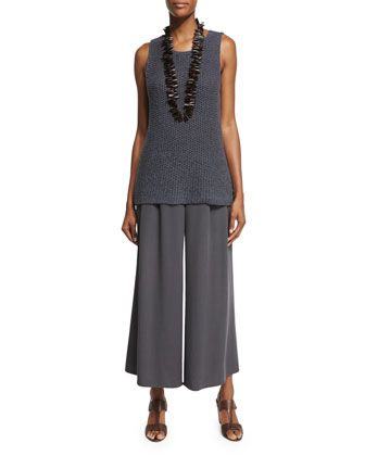 ed2b3983ff3 Fisher+Project+Open-Weave+Jersey+Shell+ +Woven+Tencel®+Grain+Wide-Leg+ Cropped+Pants++by+Eileen+Fisher+at+Neiman+Marcus.