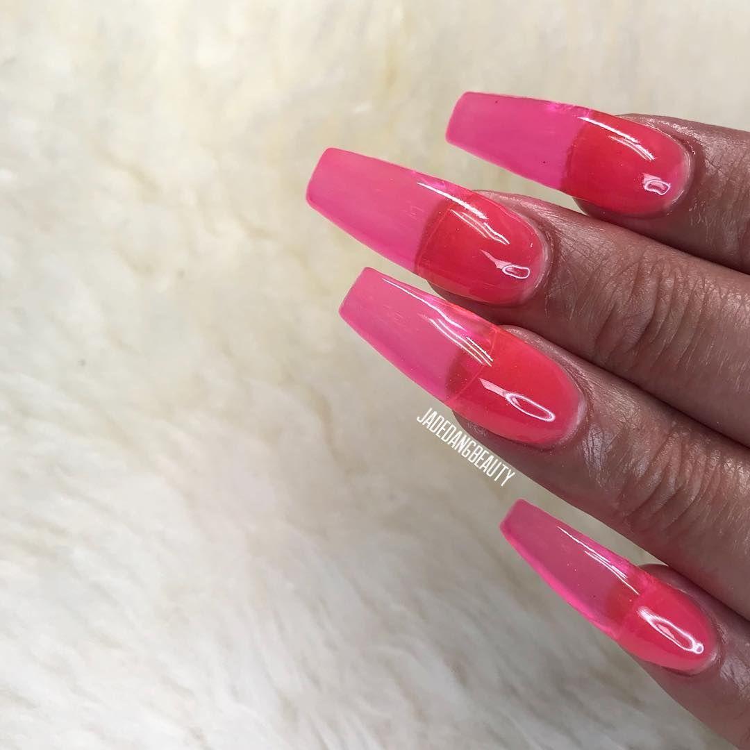 Jelly Nails Using Sugarandcream Sugarandcream Sugarandcream Gel Tint Top Coat Hot Pink How To Recreate Appl Jelly Nails Pink Gel Nails Nails And Screws