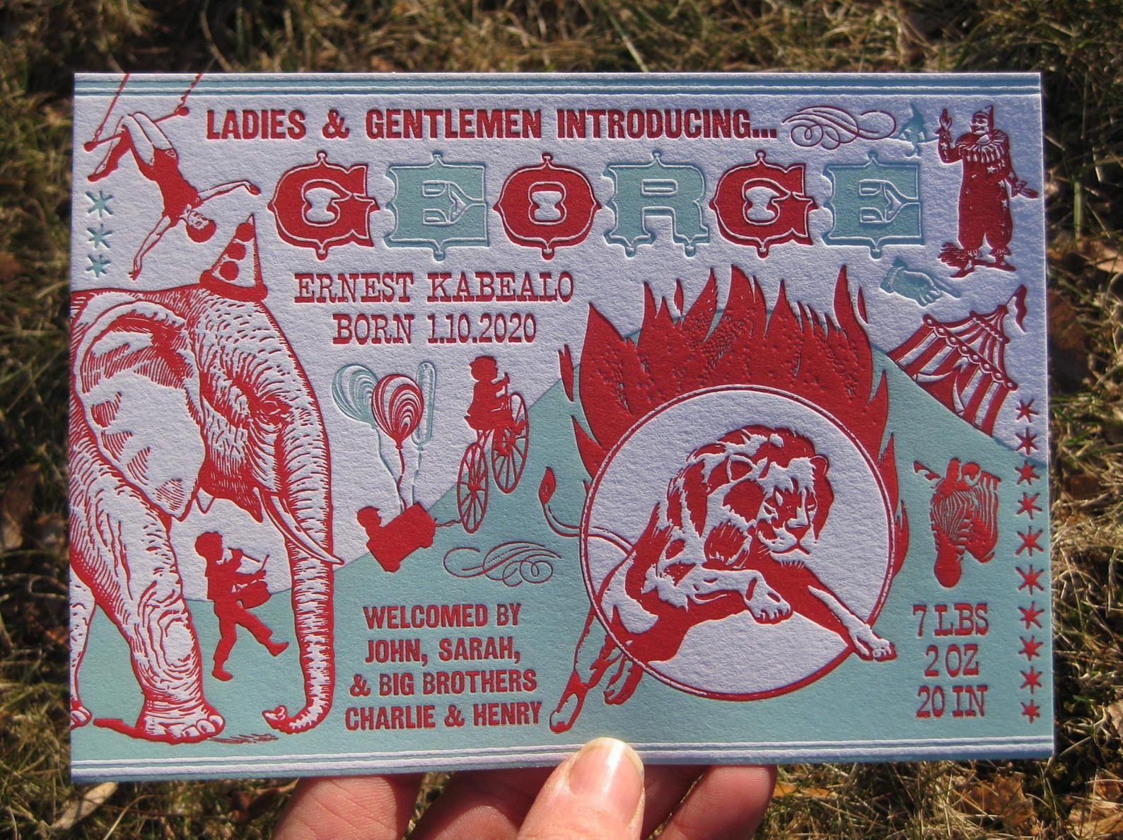 Vintage Circus Poster Custom Letterpress Birth Announcements !Mesmerizing!