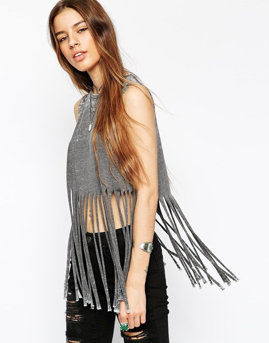 ASOS Festival Fringed Top In Burn Out