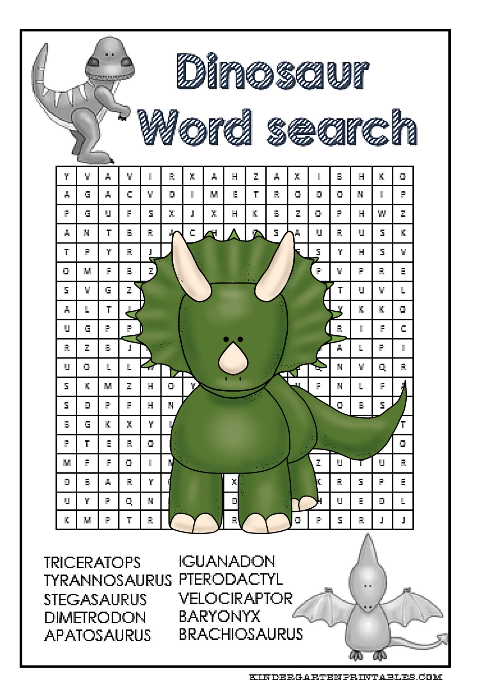Dinosaur Word Search Free Printable