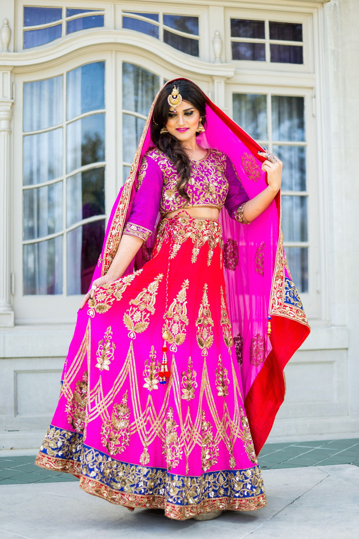 Red Pink Ombré Lehenga | Ropa