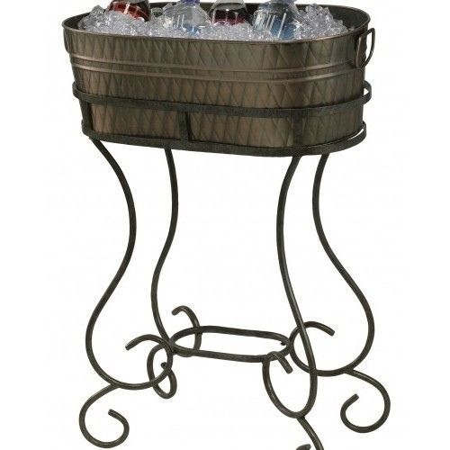 Copper Plated Party Ice Tub W Stand Beverage Cooler Bucket