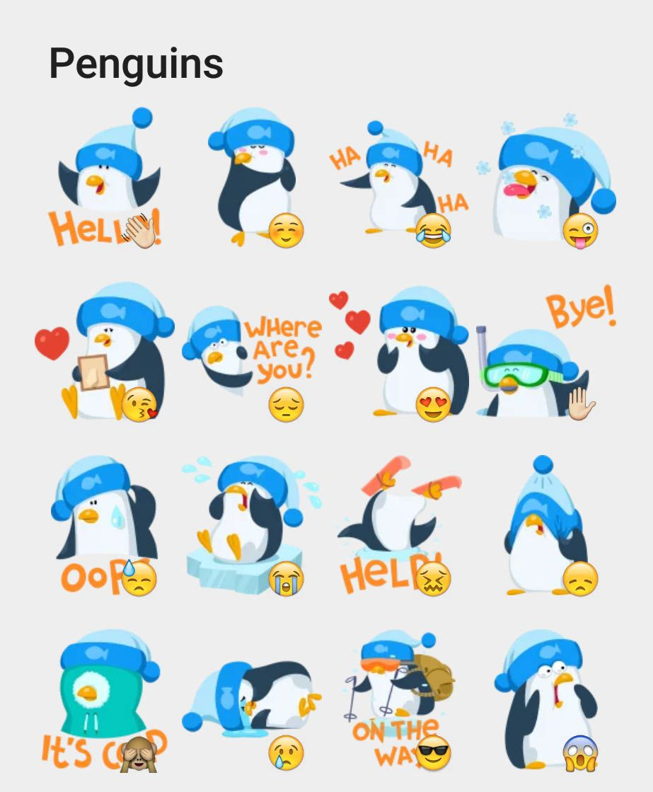 Penguins Stickers Set Telegram Stickers Telegram Stickers