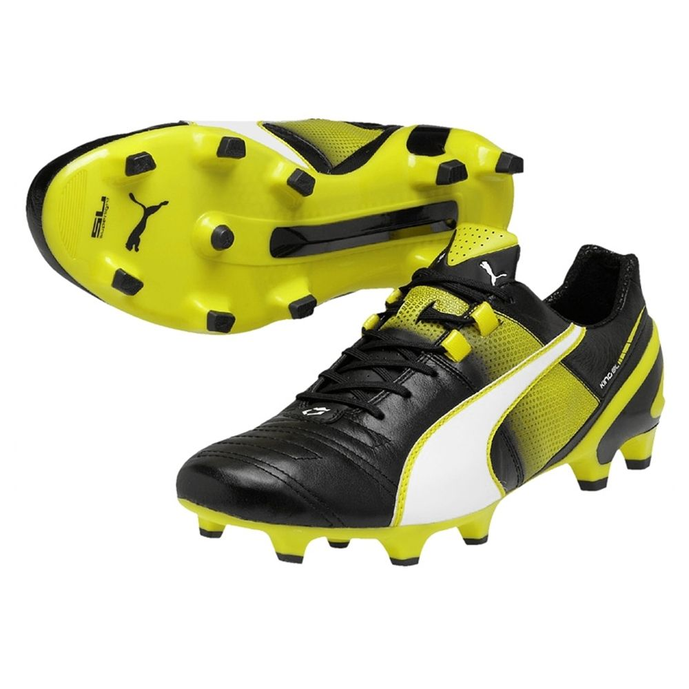 SALE 99 95 Puma King II Superlight FG Black White Sulphur Spring PUMA Soccer Cleats PUMA 103243 01 SOCCERCORNER COM