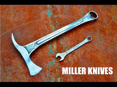 Watch A Wrench Get Beaten Into A Homemade Tomahawk Knife Knife Making Wrench Knife