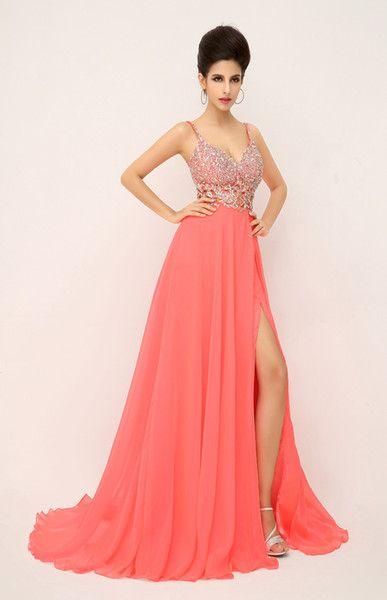 Imagenes de vestidos de noche en color coral