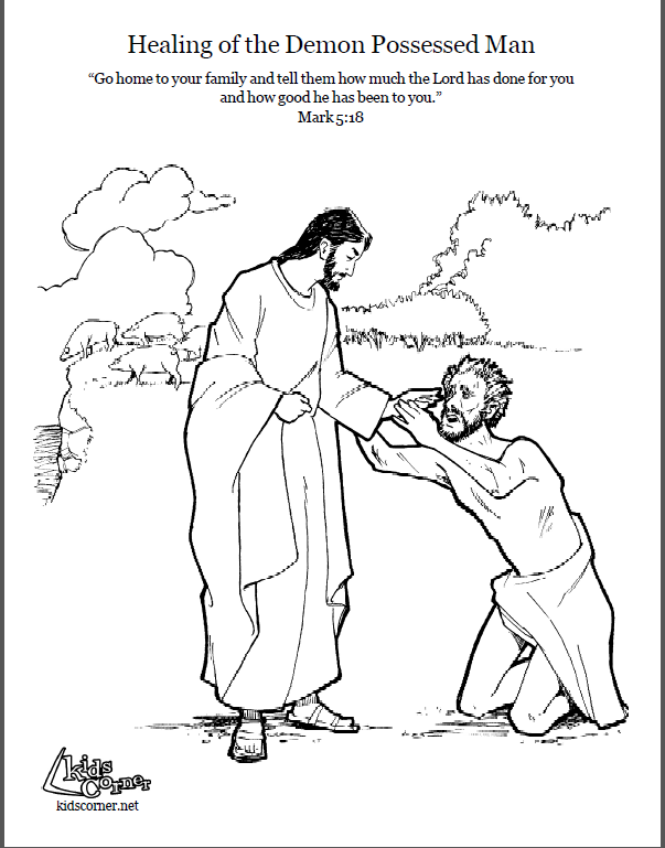 Jesus and the Demon possessed Man Coloring page script and Bible