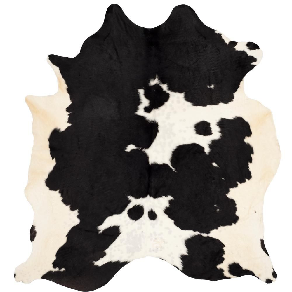 Safavieh Cow Hide Black White 6 Ft X 7 Ft Area Rug Coh211b 6 The Home Depot Cow Hide Rug White Cowhide Rug Cow Print Rug