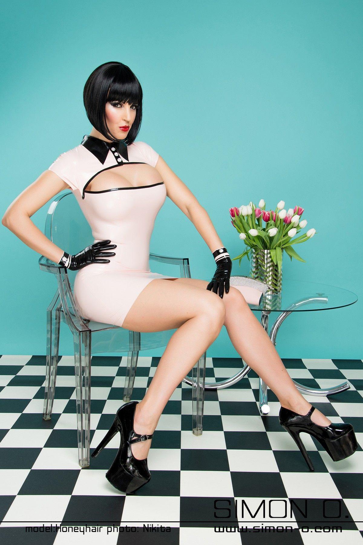 Latex Fashion - Elegantes Latex Kleid mit Swarovski Strass ...