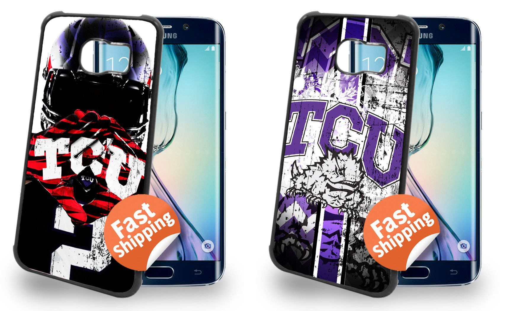 TCU Horned Frogs Cell Phone Hard Case TWO PACK for Samsung Galaxy S6, Samsung Galaxy S6 Edge
