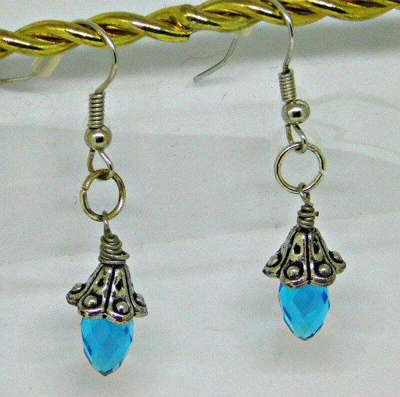 Blue Crystal Earrings by BlindedEyeDesigns on Etsy