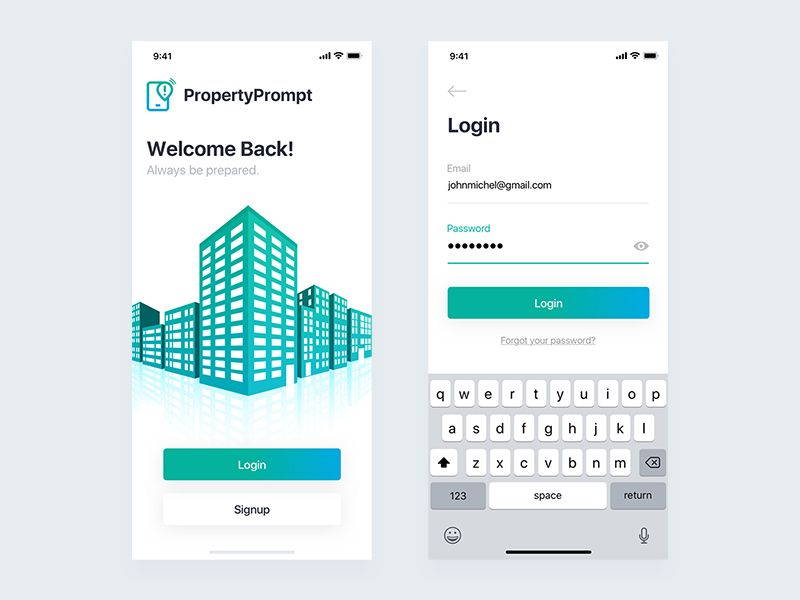 PropertyPrompt Login Screen | building | Screen design