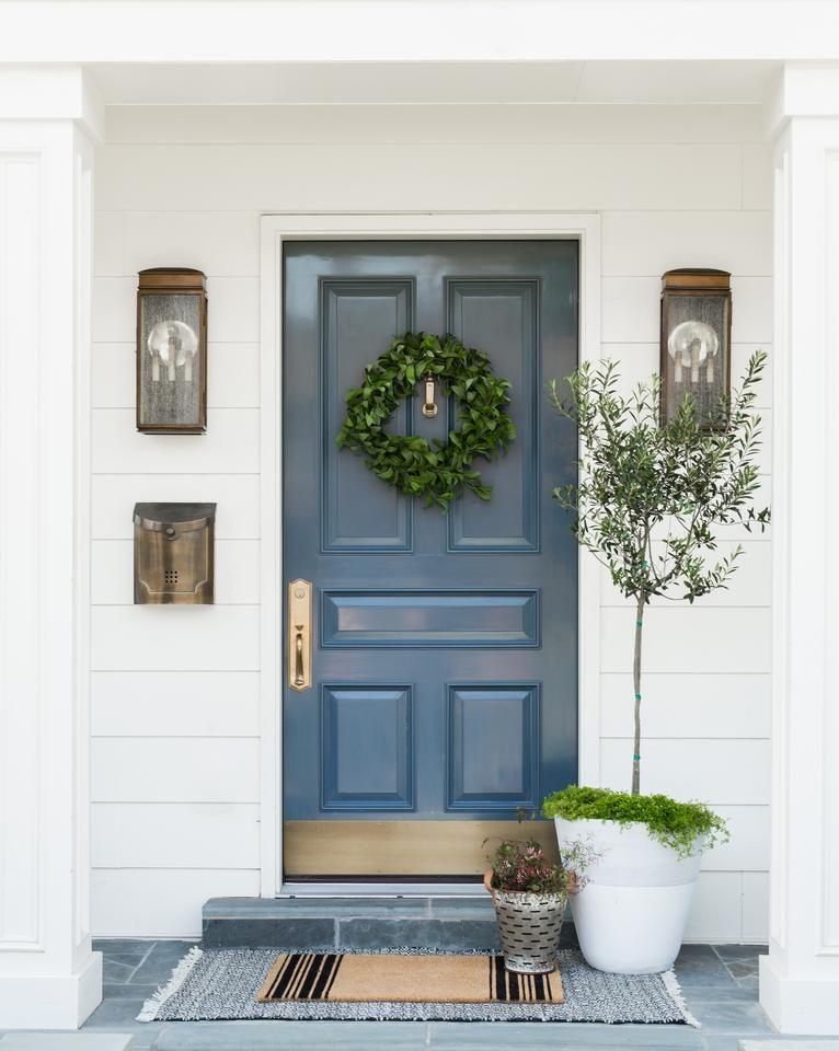 French Stripe Doormat Brick Exterior House Front Porch Decorating Front Door Design