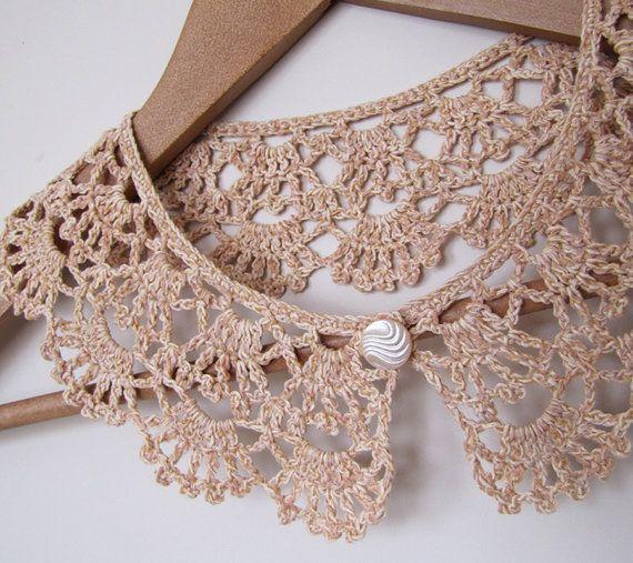 COFFEE LATTE, Lace Crochet collar, Crochet Necklace, Peter Pan Collar, Lace Neckpiece, Crochet Collar, Vintage Style Collar, Retro Collar