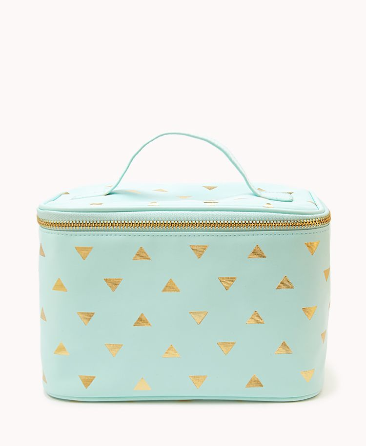 79d7a998b Metallic Triangle Print Cosmetic Bag | FOREVER21 What is your daily makeup  routine? #LoveAndBeauty #Mint #Gold #Metallic
