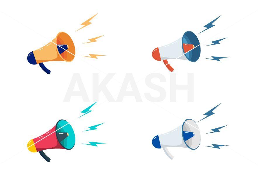 variety of megaphones loudspeaker vector files jpeg png ai and eps adobe illustrator cc or cs6 vector file illustration adobe illustrator pinterest