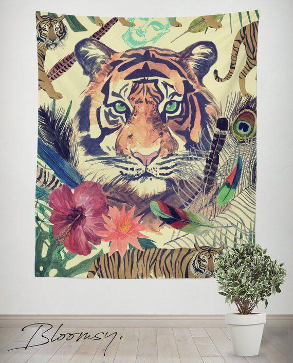 Tiger Tapestry Wildlife Wild Animal Predator Asia Wall Decor Home Dorm Decoration Fabr