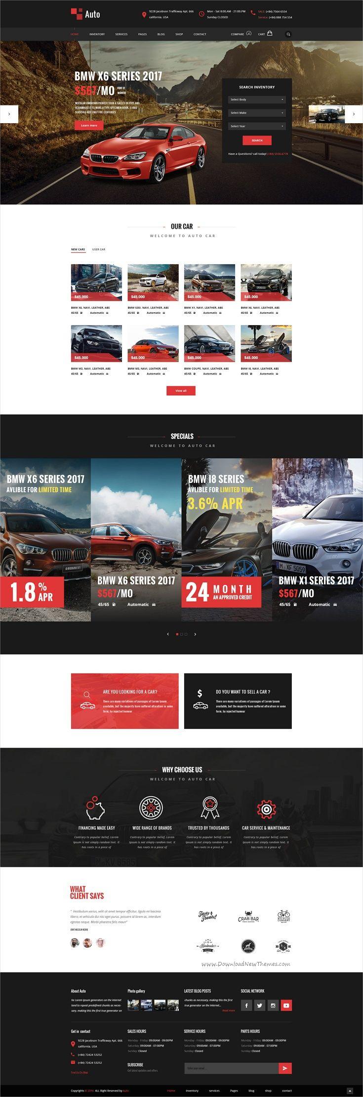 AUTO – Modern Car Rental Service PSD Template   Pagina web y Asas