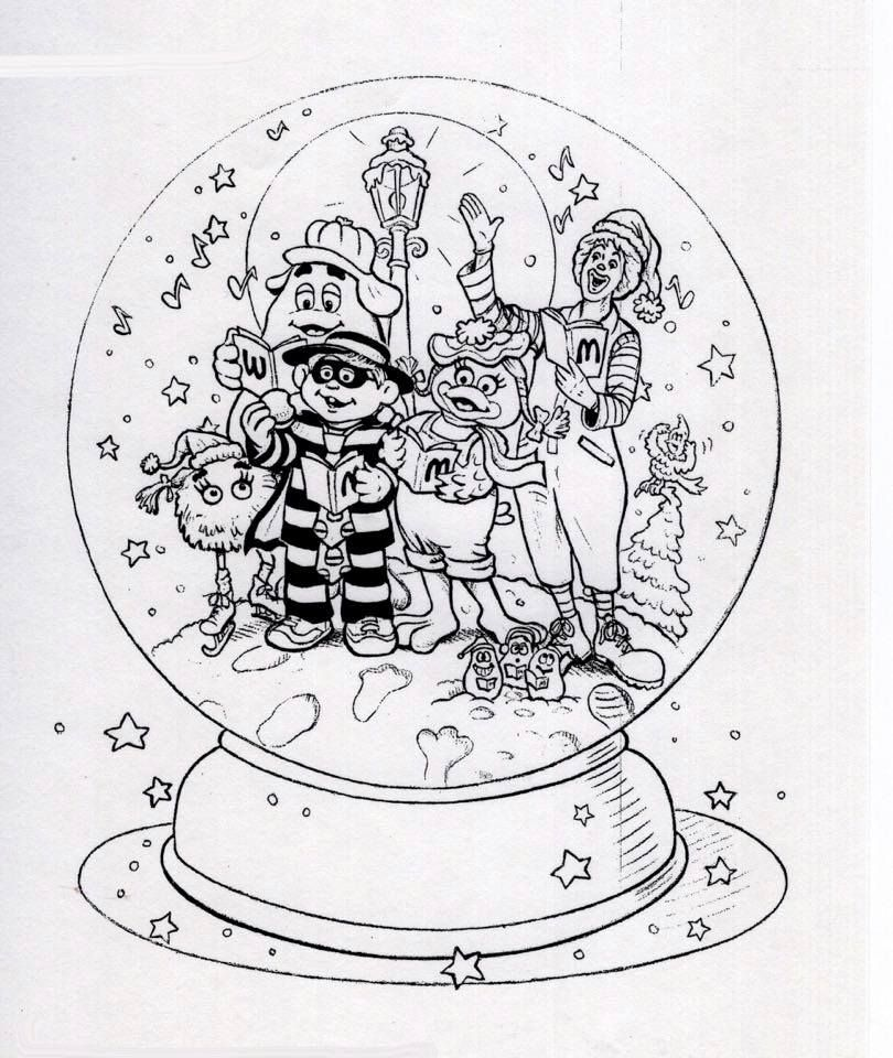 The Mcdonaldland Characters Sing Christmas Carols Inside Of A Snow