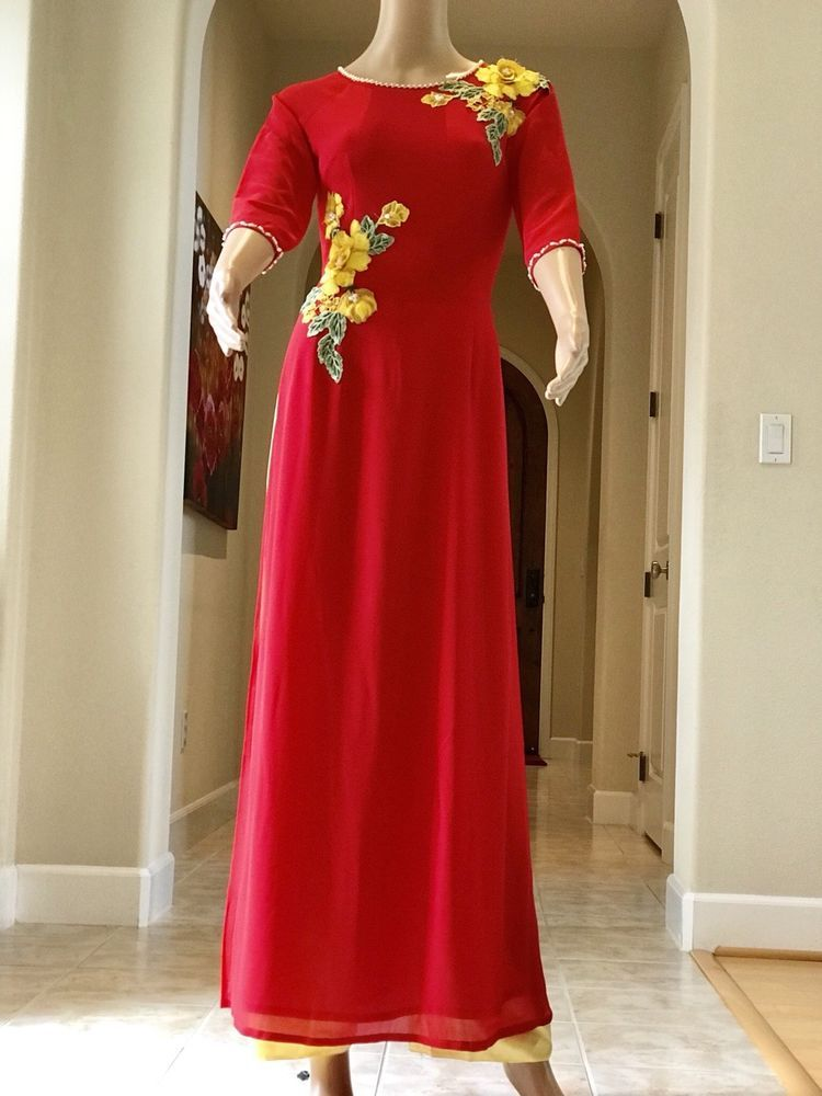 Free Priority shipping Red Vietnamese Ao Dai Long Dress with Pants