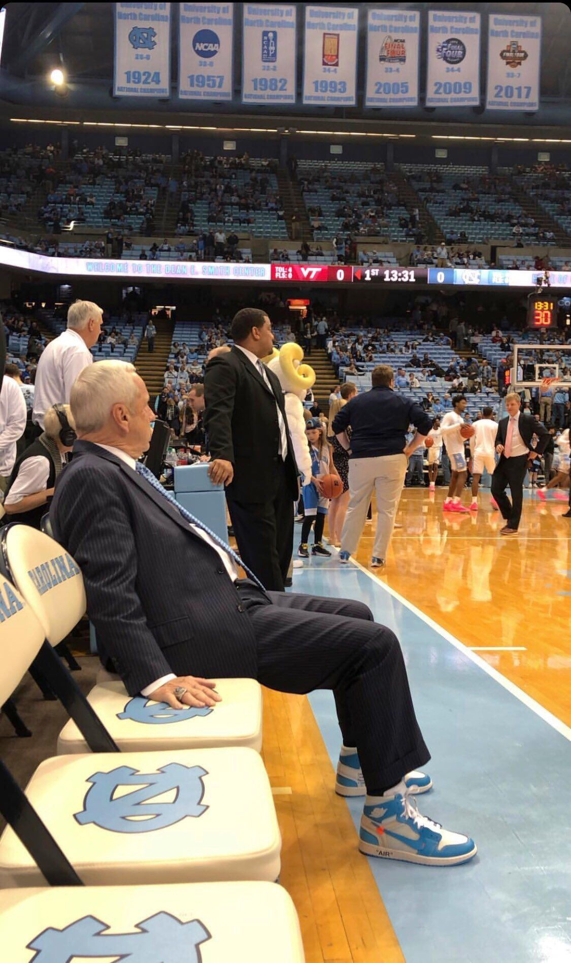 UNC head coach Roy Williams rocks UNC OffWhite x Air