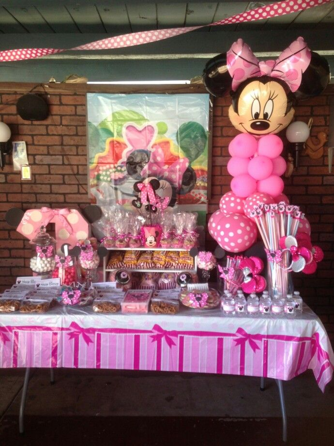 Minnie Mouse Candy Table Done By My Business Pamilya Minnie Mouse Birthday Minnie Party Minnie Mouse Birthday Party