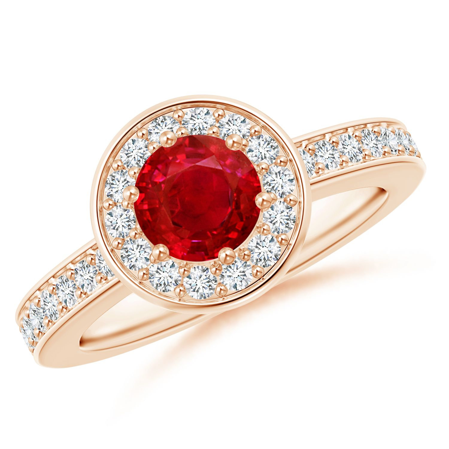 Angara Round Ruby Past Present Future Engagement Ring QiS22LG