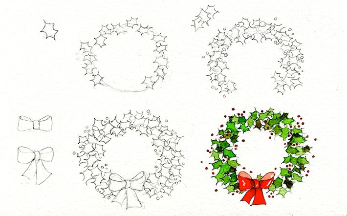 Christmas Garland Drawing.8 Christmas Drawing Ideas To Get In The Holiday Spirit Art
