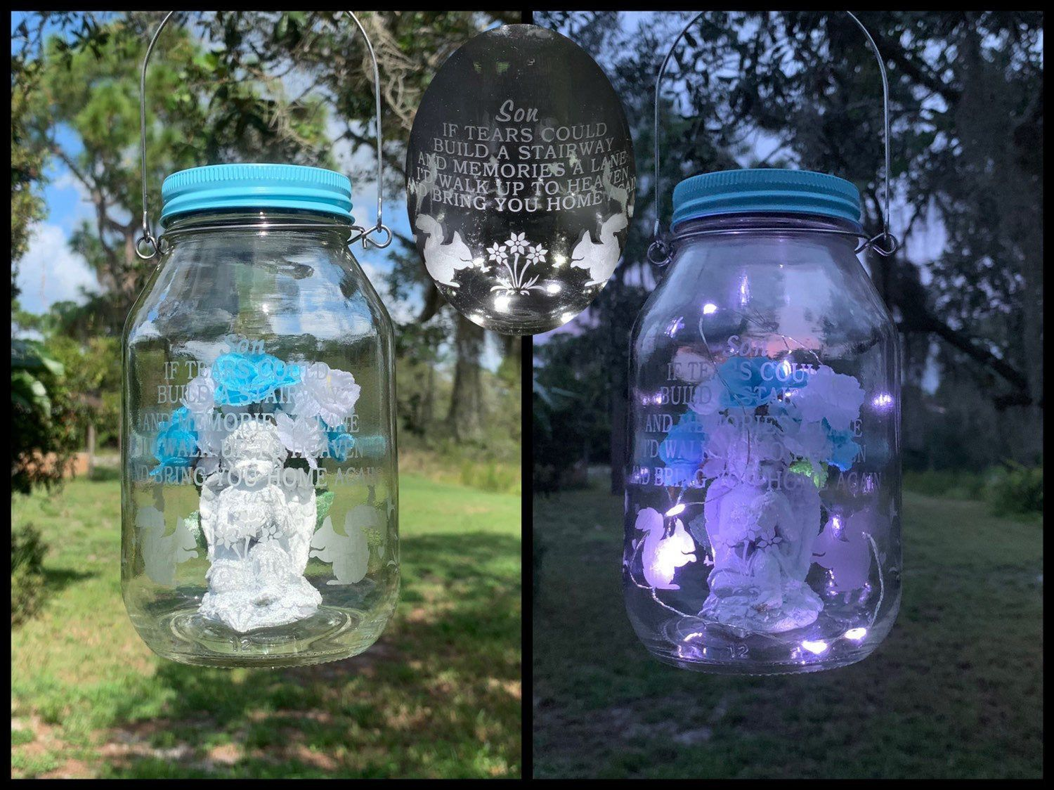 Excited To Share This Item From My Etsy Shop Grave Lantern Solar Angel Light Loss Of Son Cemetery Decor In 2020 Solar Light Crafts Cemetery Decorations Light Crafts