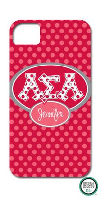 Add flair to your phone with these Alpha Sigma Alpha Letters on Dots Cell Phone Case!