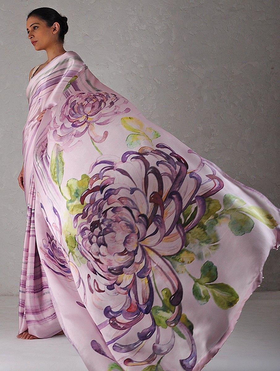 Buy Purple Green Digital Printed Georgette Satin Saree With Parsi