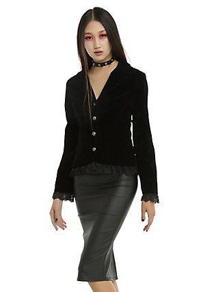 dc1e255e48d Black Velvet Lace-Up Back Girls Jacket, BLACK | Gothic Fashion ...