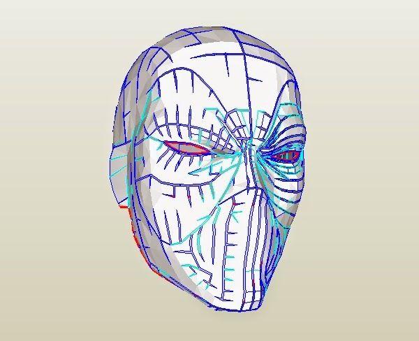 Deadpool Semi-Rigid Costume Mask DIY (PDF template) | pepakura ...
