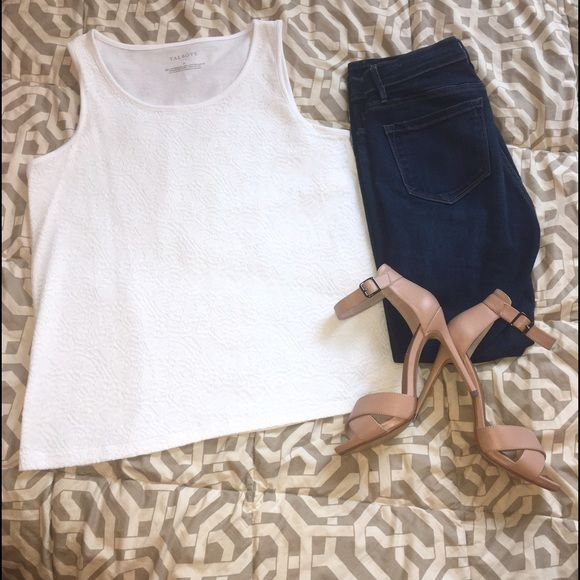 NWT Talbot White Lace Tank NWT, never worn, new!  White lace tank, very light and comfortable!  Perfect to dress up with a skirt and hack for work, or dress down with jeans for a casual night! Size M! Make me an offer! Talbots Tops Tank Tops