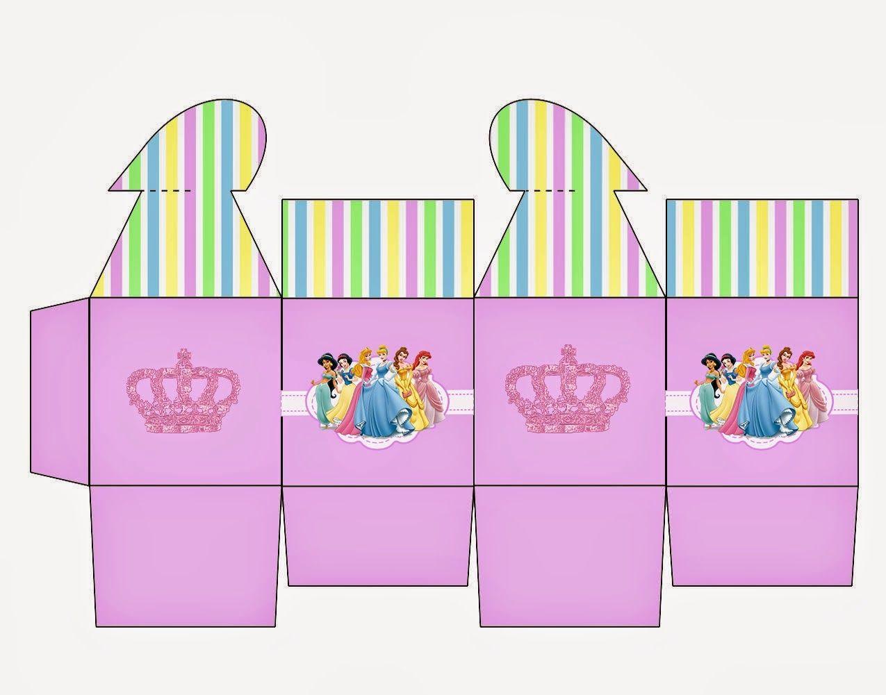 Disney Princess: Free Printable Box with Heart Closure.