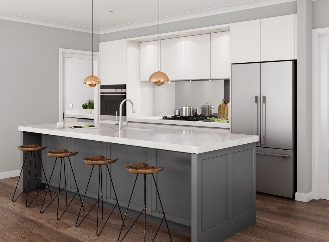 Kitchen Images & Inspiring Design Ideas | Gray island, Shaker doors ...