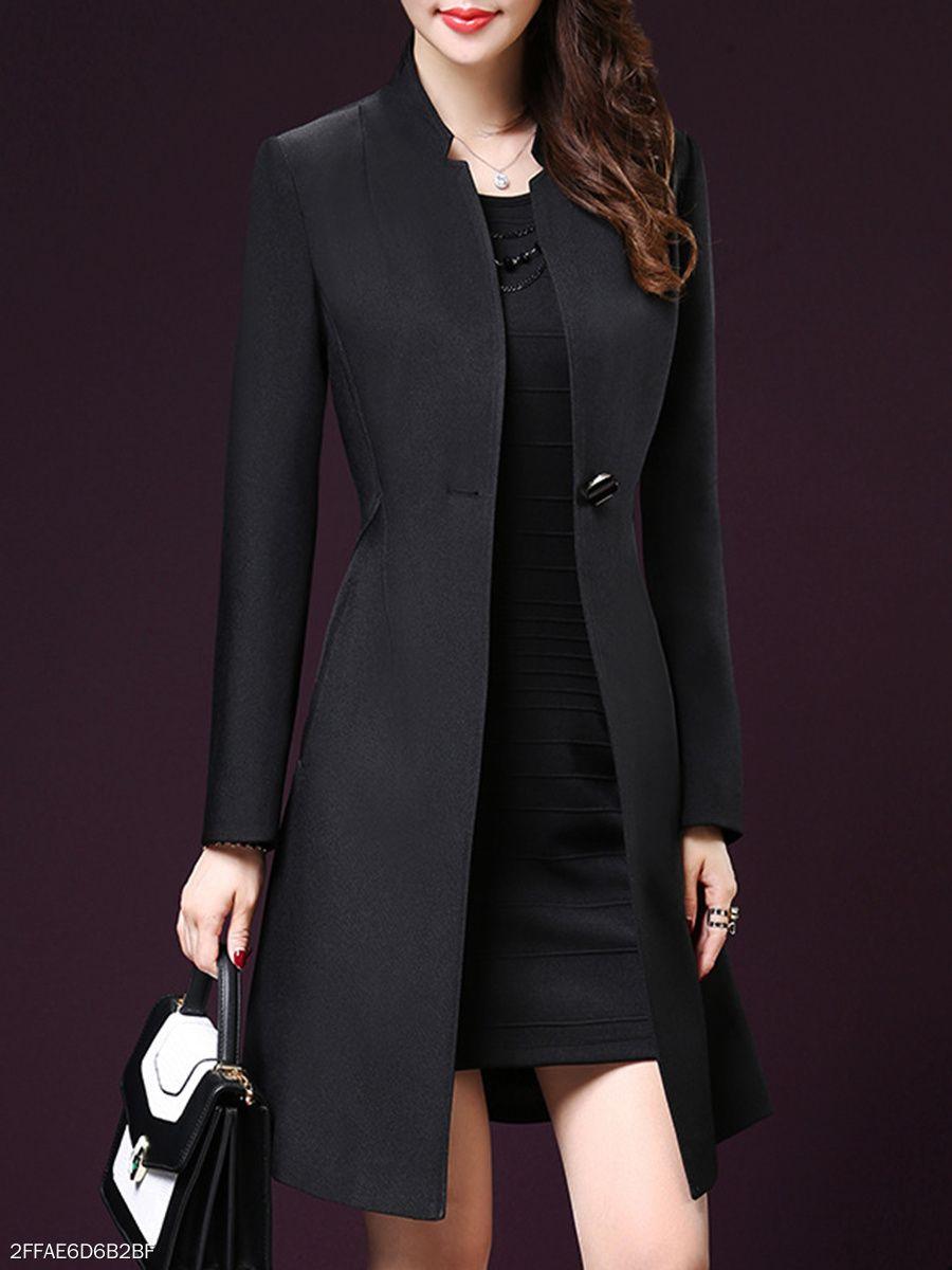 c7806a32bfd Slit Pocket Single Button Plain Long Sleeve Trench Coats  coats  coat   jacket  longsleeves  trenchcoat  forwork  formalwear  fashion  blackcoat   afflink   ...