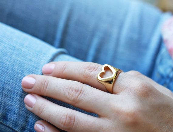 Valentine ring Hollow Heart ring Gold heart by PieceofmineJewelry